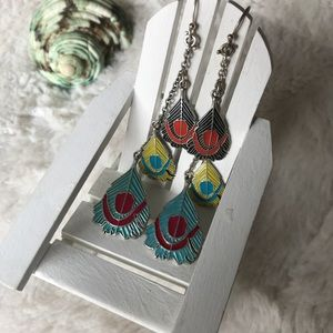 "Lucky Brand 3 1/2"" Feather dangle earrings"